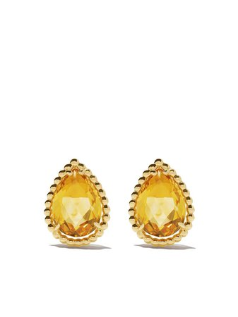 Boucheron 18Kt Yellow Gold Serpent Bohème Citrine S Motif Teardrop Stud Earrings JCO01283 | Farfetch
