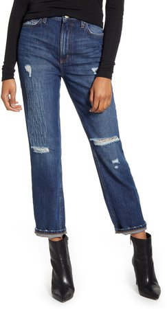 High Waist Ripped Straight Leg Ankle Jeans