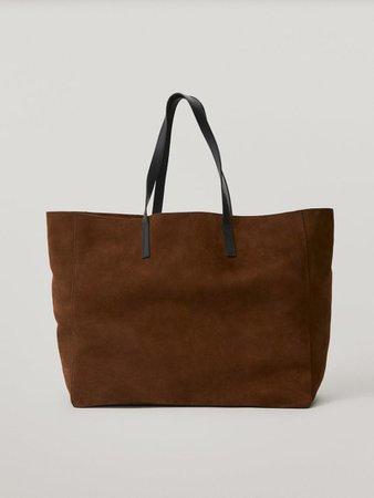 Split suede tote bag - Women - Massimo Dutti