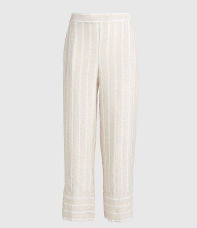 Petite Striped Wide Leg Crop Pull On Pants