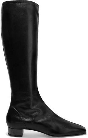 Edie Leather Knee Boots - Black