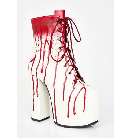 Red Carrie Bloody Prom Queen Platform Booties | Dolls Kill