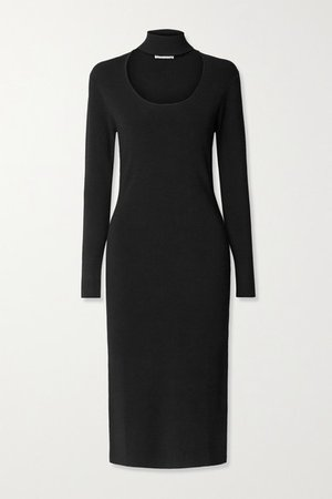 Cutout Stretch-knit Turtleneck Midi Dress - Black