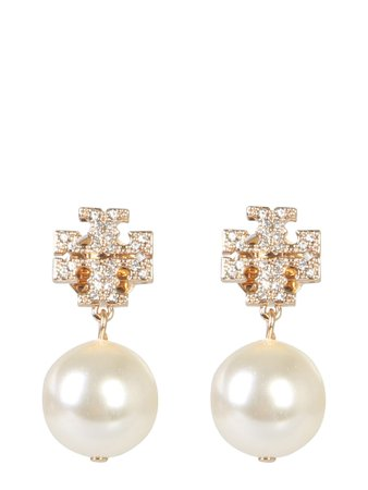 Tory Burch Crystal Logo And Pendant Pearl Earrings
