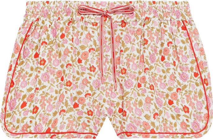 Goldie Floral-print Linen And Cotton-blend Shorts