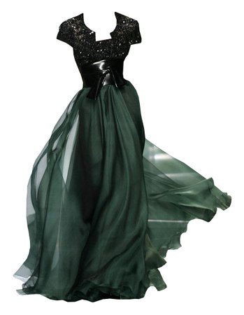 dress long black green