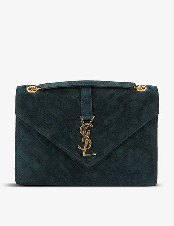SAINT LAURENT - Monogram medium quilted-suede shoulder bag | Selfridges.com