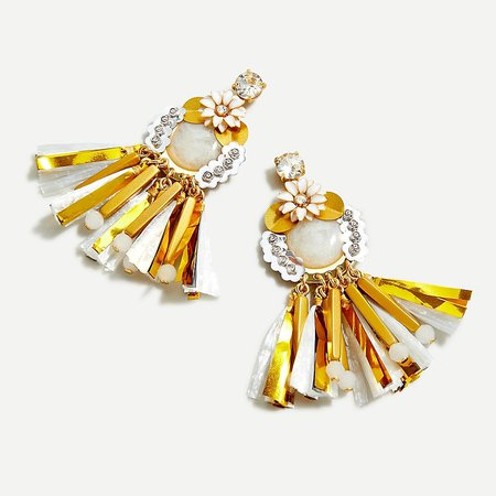 J.Crew: Raffia Fringe Earrings For Women yellow