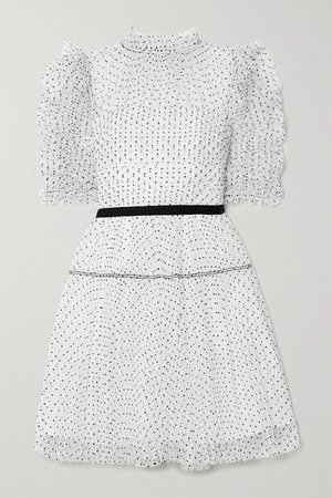 Ruched Pleated Polka-dot Flocked Tulle Mini Dress - White