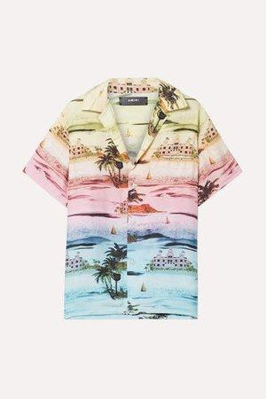 Printed Silk-twill Shirt - Pink