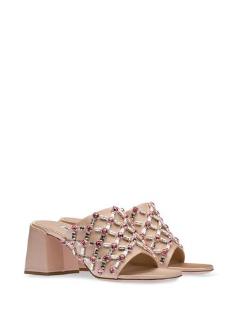 Miu Miu crystal-embellished Satin Sandals - Farfetch