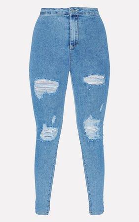 Plt Wash Distressed Disco Skinny Jean | Denim | PrettyLittleThing USA