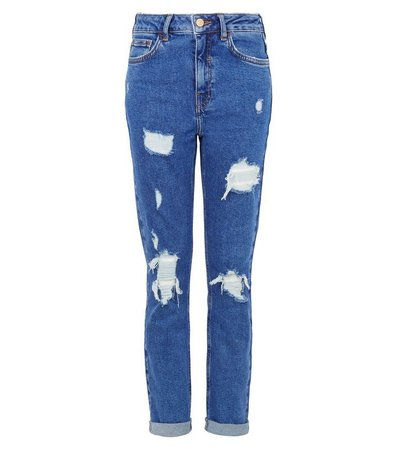 Girls Bright Blue Ripped Stretch Mom Jeans | New Look