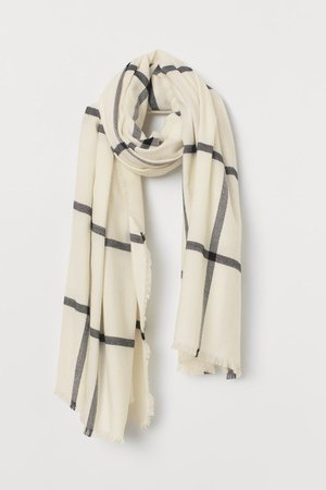 Large Scarf - Natural white/checked - Ladies | H&M US