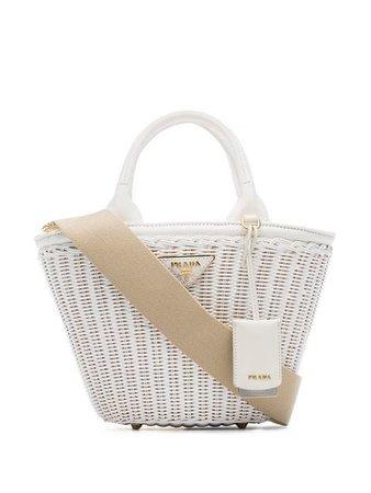 Prada White Middolino Straw Bucket Bag - Farfetch