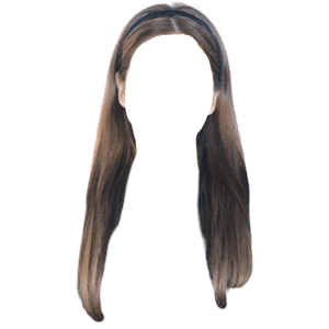 brown hair with a thin headband png