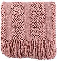 "Amazon.com: Battilo Solid Knit Mesh Tassels Throw Blanket Super Soft Warm Multi Color (Pink, 51""x 59""): Home & Kitchen"