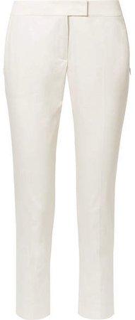 Frances Cropped Cotton-blend Slim-leg Pants - Cream