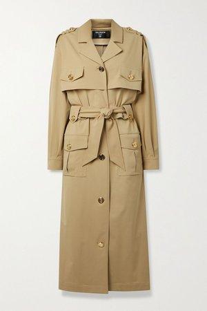 Beige Belted woven trench coat | Balmain | NET-A-PORTER