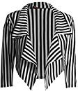 New Womens Black White Striped Crop Waterfall Blazer Ladies Casual Jacket Coat Stripe Blazer: Amazon.co.uk: Clothing