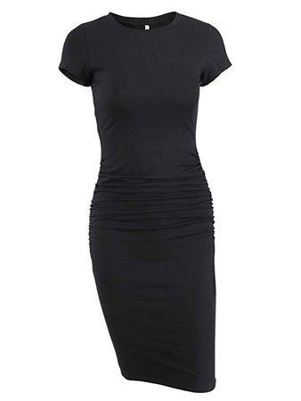 Missufe Women's Ruched Casual Sundress Midi Bodycon Sheath Dress (Gray, Large) at Amazon Women's Clothing store: