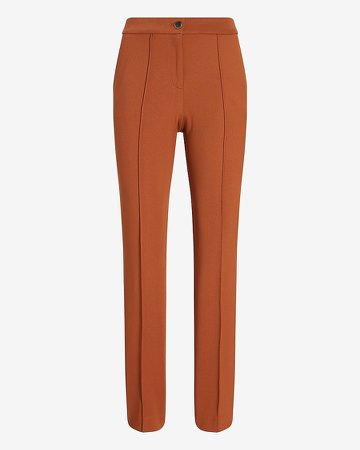 High Waisted Seamed Twill Ankle Pant