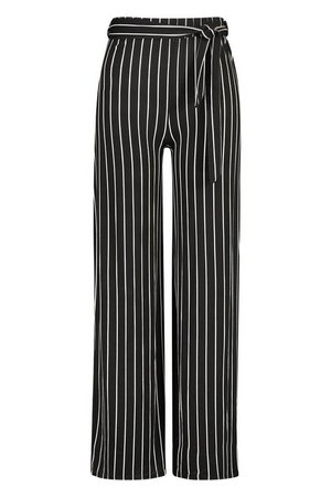 PLus Wide Leg Belted Striped Trouser | boohoo