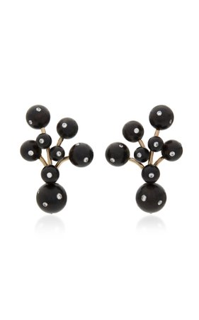 Sorab & Roshi Black Berry 18K Gold Ebony and Diamond Earrings