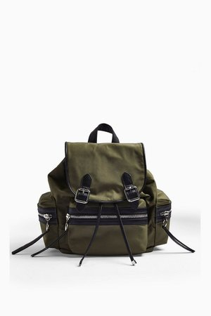 Khaki Nylon Backpack | Topshop