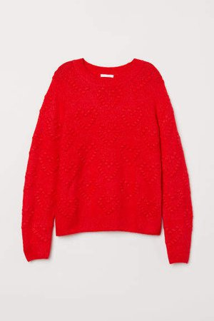 Pattern-knit Sweater - Red