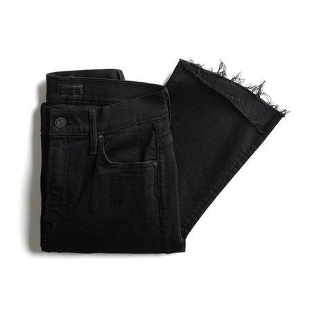 Black Raw Edge Flared Jeans