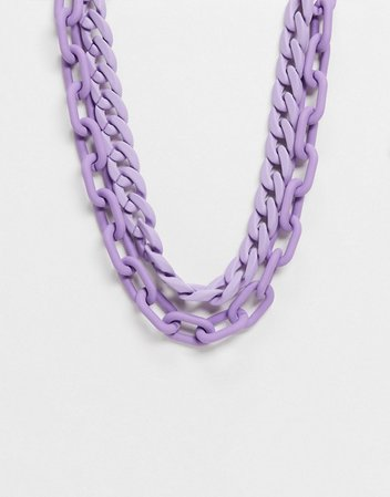 ASOS DESIGN multirow necklace in curb and open link chain in lilac purple | ASOS