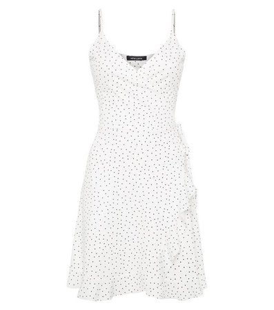 White Spot Ruffle Wrap Dress | New Look