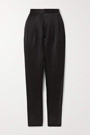 Satin Straight-leg Pants - Black