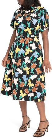 Floral Cowl Neck Midi Dress