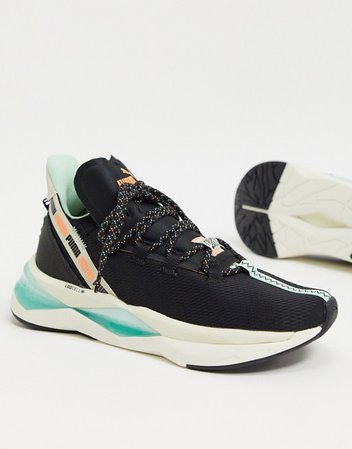 Puma Running First Mile LQD Cell shatter sneakers in black | ASOS