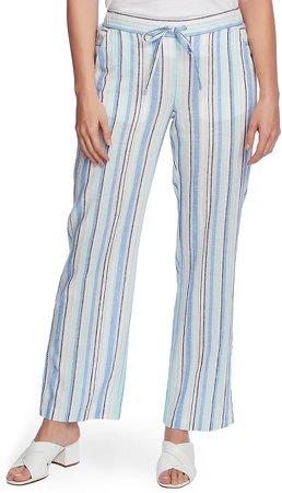Wistful Stripe Linen & Cotton Blend Drawstring Pants