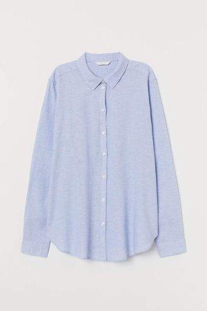 Linen-blend Shirt - Blue