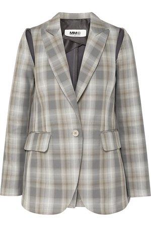 MM6 Maison Margiela   Cutout checked cotton-blend blazer   NET-A-PORTER.COM