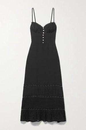 Harvest Lace-trimmed Pleated Georgette Midi Dress - Black