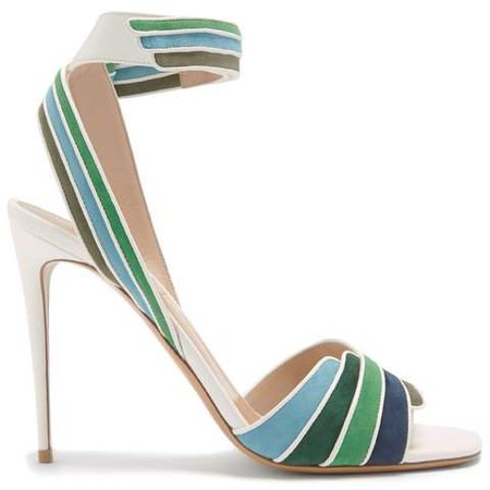 Striped Leather And Suede Sandals - Womens - White Multi