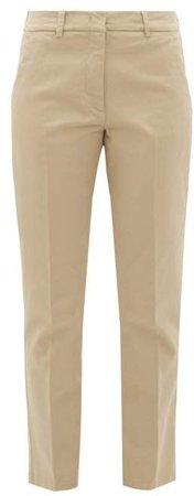 Oglio Slim Leg Cotton Blend Chino Trousers - Womens - Beige
