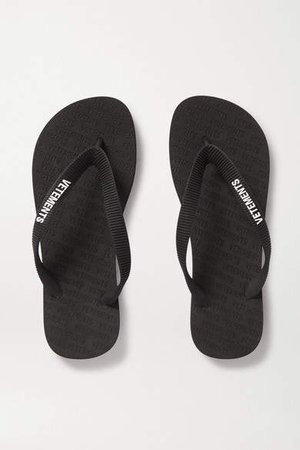 Logo-embellished Rubber Flip Flops - Black