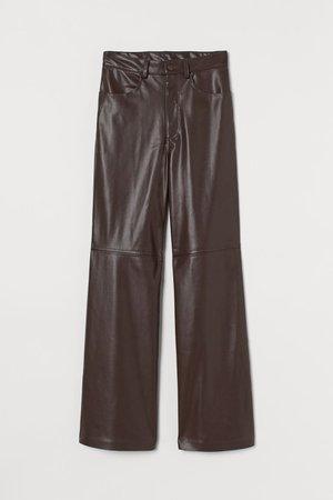 Imitation leather trousers - Dark brown - Ladies | H&M GB