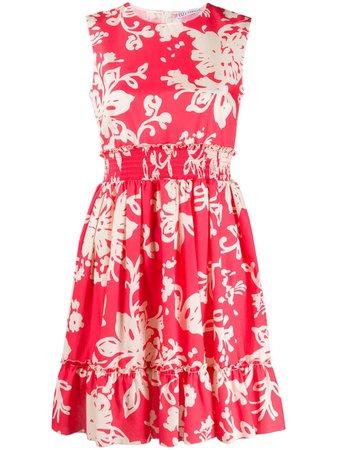 Pink & neutral RedValentino floral-print cotton dress - Farfetch