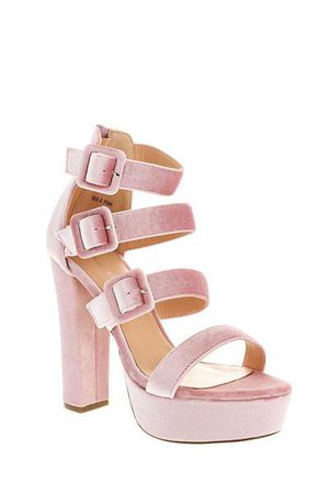 Triple Strap Pink Velvet Platform Heels – SinglePrice