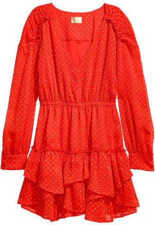 Short Chiffon Dress - Red