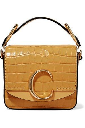 Chloé | Chloé C mini smooth and croc-effect leather shoulder bag | NET-A-PORTER.COM