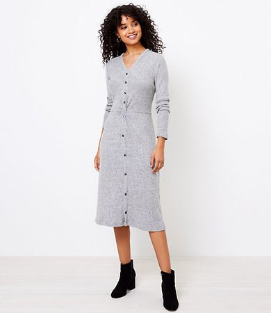 Knotted Button Midi Dress