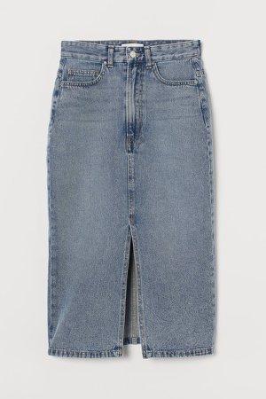 Denim Slit Skirt - Blue